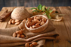 Almonds in shell in the basket. Closeup Stock Photo