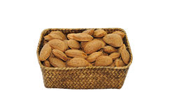 Almonds in shell close up isolated Royalty Free Stock Photography