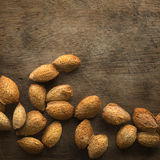Almonds shell with copy space Stock Images