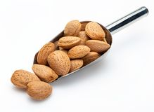 Almonds with shell in metal shovel Collection of various nuts. royalty free stock photography
