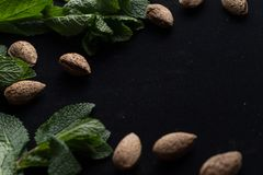 Almonds in shell with mint leaves on black background with copy space closeup.  Royalty Free Stock Photography