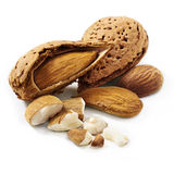Almonds. Shelled  on white background Stock Images