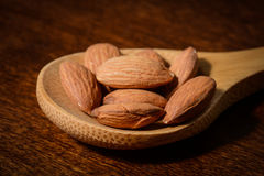 Almonds in a Spoon Stock Photo