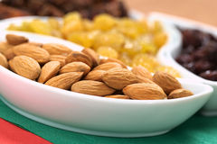 Almonds, Sultanas and Raisins Stock Images