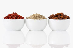 Almonds, sunflower seeds and goji berries Royalty Free Stock Photography