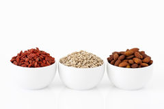 Almonds, sunflower seeds and goji berries Royalty Free Stock Photos