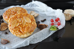 Almonds Sweet Tart on Crumpled Paper Royalty Free Stock Photos
