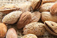 Almonds top views Royalty Free Stock Photography
