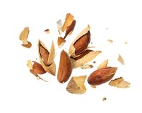 Almonds is torn to pieces isolated on white background.  Royalty Free Stock Photography