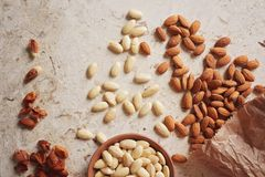 Almonds, unshelled and shelled. Peeled blanched and unblanched whole almonds. Shelled almonds with a small black bowl of blanched almonds Royalty Free Stock Photos