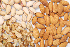 Almonds,wallnuts and pistachios Royalty Free Stock Photo