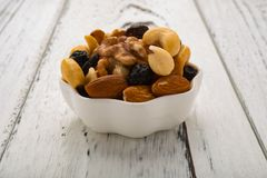 Almonds and walnuts and cashew nuts and raisin and dry blueberries on white dish Royalty Free Stock Photography