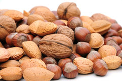 Almonds,walnuts and hazelnuts Stock Photos