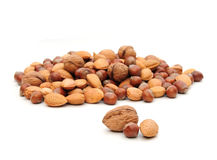 Almonds,walnuts and hazelnuts. Shot of some nuts on a white background royalty free stock photo
