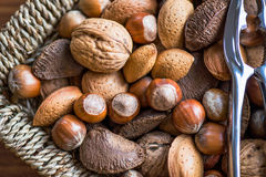Almonds, Walnuts, Hazelnuts, Brazil Nuts in Basket Stock Photos