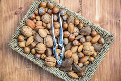 Almonds, Walnuts, Hazelnuts, Brazil Nuts in Basket Stock Photography