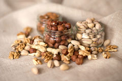 Almonds, walnuts and hazelnuts Royalty Free Stock Photography
