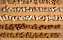 Almonds, walnuts and hazelnuts. On a wooden board Royalty Free Stock Image