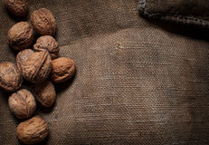 Almonds, walnuts and hazelnuts on wooden table. assortment of nuts. Royalty Free Stock Photography