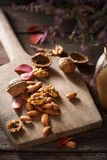 Almonds and walnuts in kitchen Royalty Free Stock Image