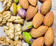 Almonds, walnuts and pistachio. Stock Image