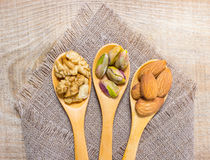 Almonds, walnuts and pistachio on a wooden spoon. Stock Photos