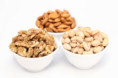 Almonds,walnuts and pistachios Stock Images