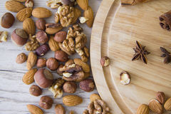 Almonds and walnuts Royalty Free Stock Photography
