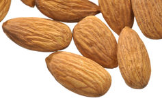 Almonds on white Stock Photo