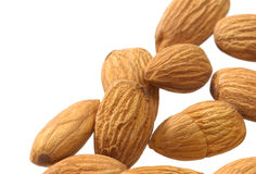 Almonds on white Stock Photos