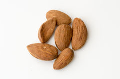 Almonds on a White Backgound Royalty Free Stock Photography