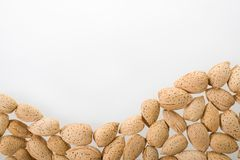 Almonds on white background. Royalty Free Stock Photo