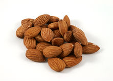 Almonds on a white background Stock Photography