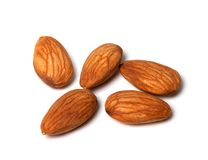 Almonds on white background Stock Images