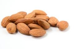 Almonds on White Background Royalty Free Stock Photos