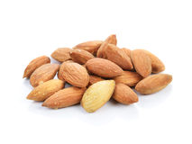 Almonds on a white background Stock Image