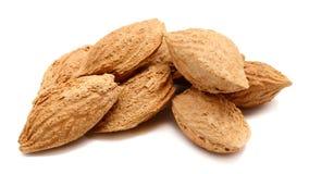 Almonds on white background.