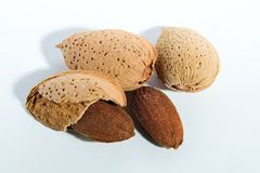 Almonds. With white background. Bitter temptation Stock Images