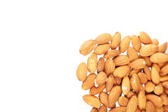 Almonds on white background, close up Royalty Free Stock Photos