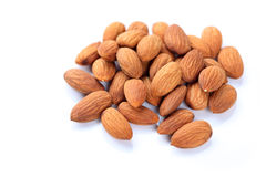 Almonds. White background. Close-up stock photography