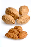 Almonds on white background - close-up Stock Photography