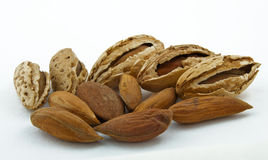 Almonds on a white background Royalty Free Stock Photo