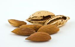 Almonds on a white background Royalty Free Stock Photography