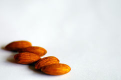 Almonds on white background Royalty Free Stock Photography