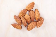 Almonds. On white background. isolated royalty free stock photo