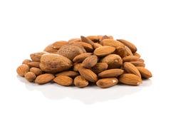 Almonds on a white background Stock Photos