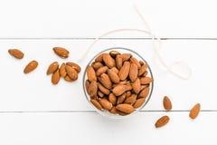 Almonds on a white background Royalty Free Stock Photos