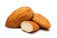 Almonds  on white. Royalty Free Stock Photography