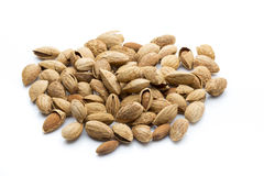 Almonds on the white isolatd background. Stock Photography
