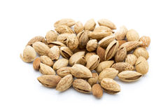 Almonds on the white isolatd background. Stock Images
